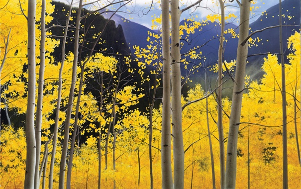 Фото обои осень, небо, деревья, пейзаж, горы, листва, рисунок