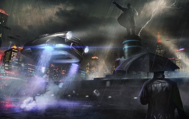 Фото обои дождь, человек, москва, зонт, статуя, автомобиль, ленин