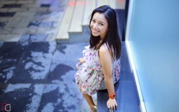 Фото обои девушка, улыбка, настроение, азиатка
