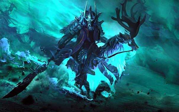 Фото обои оружие, конь, лошадь, маска, арт, призрак, рога