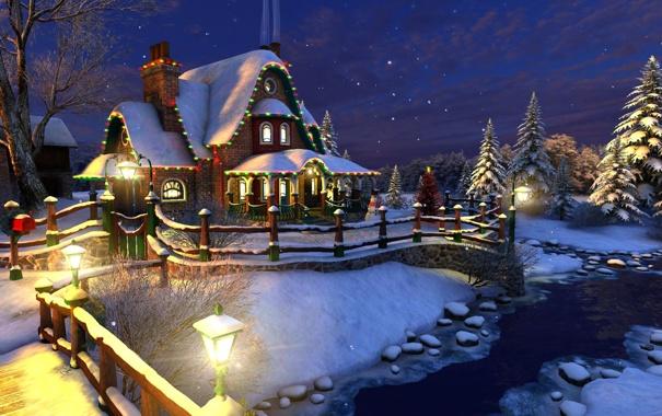 Фото обои праздник, Рождество, домик, снеговик