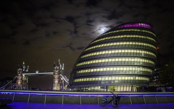 Фото обои ночь, мост, огни, дом, Англия, Лондон