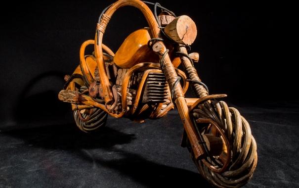 Фото обои дерево, модель, мотоцикл, плетение, motorcycle, wooden, из дерева