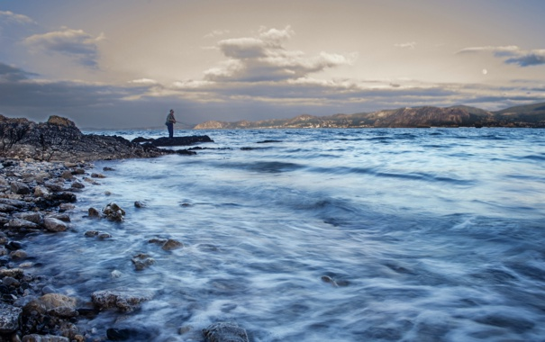 Фото обои море, пейзаж, рыбак