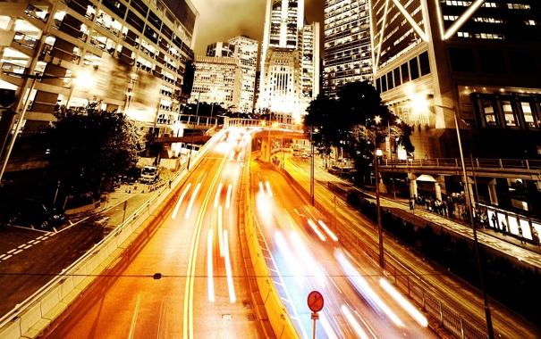 Фото обои дорога, огни, движение, здания, вечер, шоссе, фонари