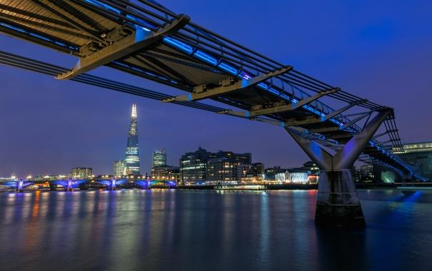 Фото обои ночь, река, Англия, Лондон, здания, вечер, освещение