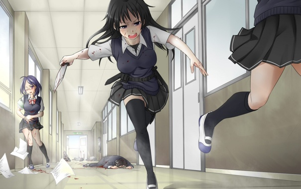 Фото обои оружие, девушки, кровь, аниме, арт, очки, коридор