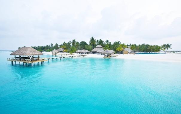 Фото обои песок, море, небо, природа, тропики, пальмы, Остров