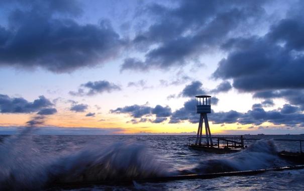 Фото обои море, волны, небо, пейзаж, закат, природа, пристань