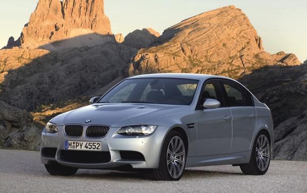 Фото обои Авто, Горы, BMW, Машина, Серый, БМВ, Серебро