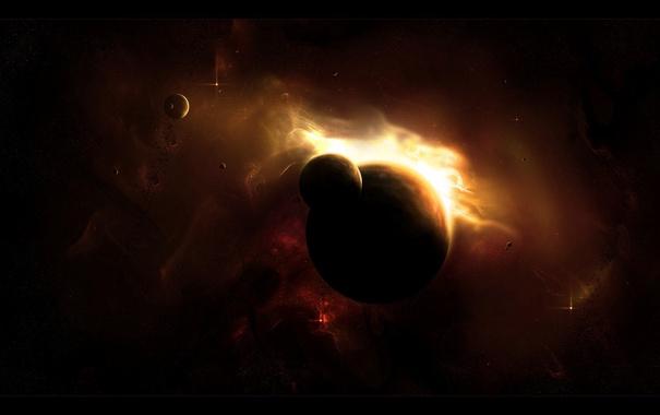 Фото обои звезды, туманность, планеты, луны, свечение