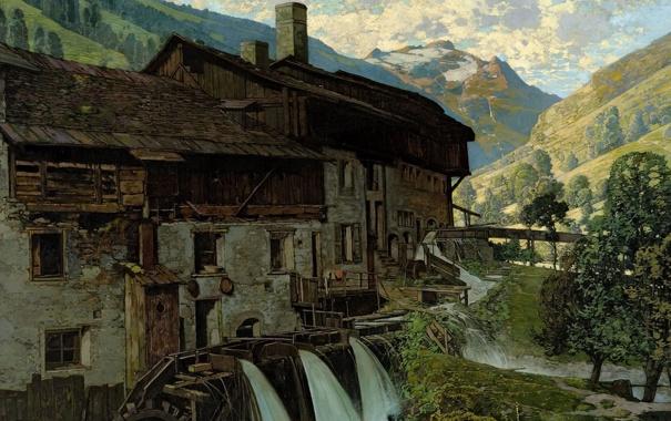Фото обои горы, дом, река, здание, картина, долина, живопись