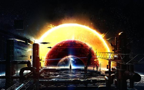 Фото обои космос, планета, корабли