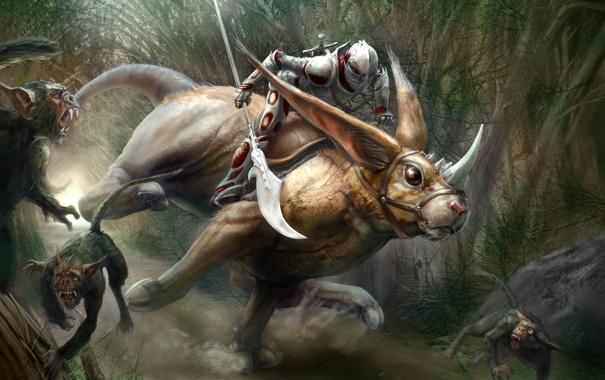 Фото обои движение, меч, арт, существа, всадник, уши, рог