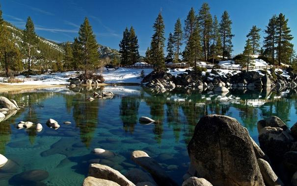 Фото обои камни, забор, озеро, деревья, холм, зима, горы