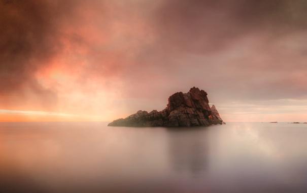 Фото обои скала, океан, берег, дымка