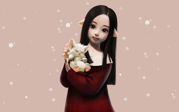 Фото обои белая, снежинки, неко, котенок, фон, арт, девочка