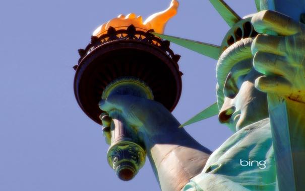Фото обои свобода, макро, факел, статуя, сша