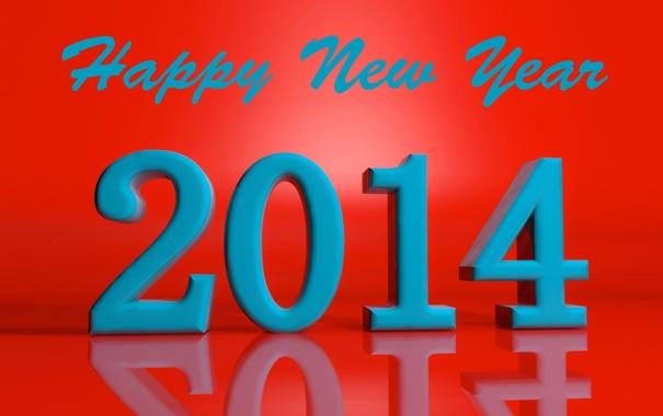 Фото обои отражение, праздник, надпись, цифры, новый год, 2014, счастливого нового года