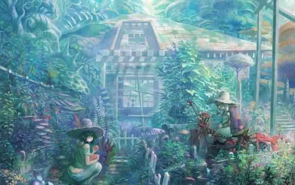 Фото обои девушка, дом, мир, грибы, мотоцикл, старушка, sakai yoshikuni (artist)