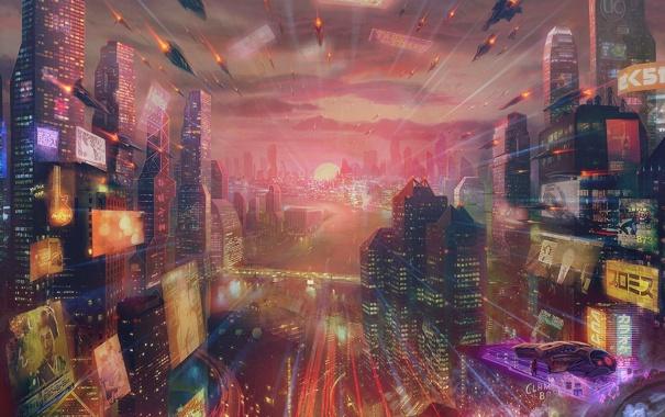 Фото обои город, будущее, река, транспорт, корабли, небоскребы, арт