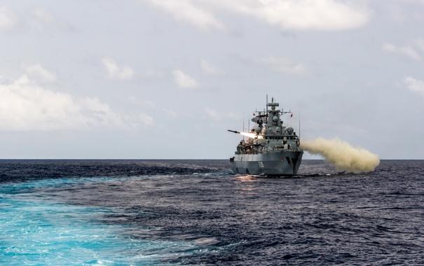Фото обои оружие, корабль, ракета, пуск