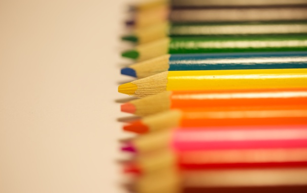Фото обои желтый, красный, цветные, карандаши, грифель