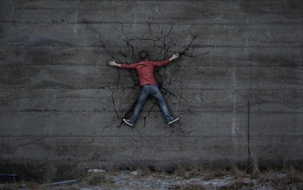 Фото обои фон, стена, человек, влип