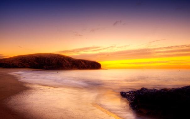 Фото обои море, небо, берег, гора