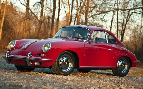 Фото обои деревья, Porsche, порше, Coupe, передок, 1964, красивая машина
