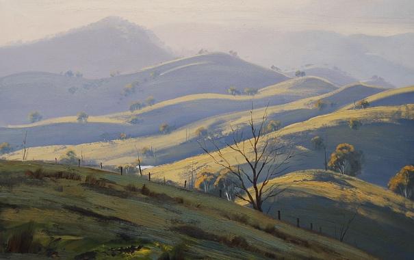 Фото обои рисунок, арт, artsaus, megalong valley hills