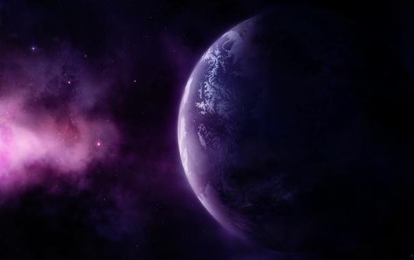 Фото обои звезды, свет, туманность, пространство, планета
