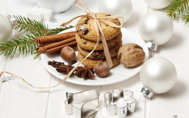 Фото обои корица, ветки, шары, ёлочные игрушки, бадьян, орехи, печенье
