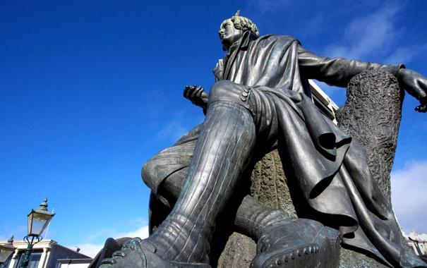Фото обои Новая Зеландия, памятник, фонарь, Данидин, Роберт Бернс статуя