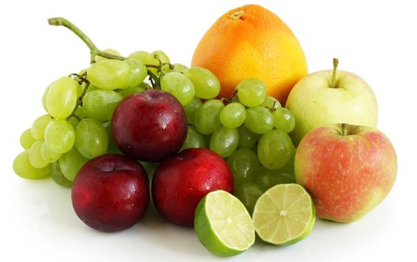 Фото обои ягоды, яблоки, апельсин, виноград, лайм, фрукты, сливы