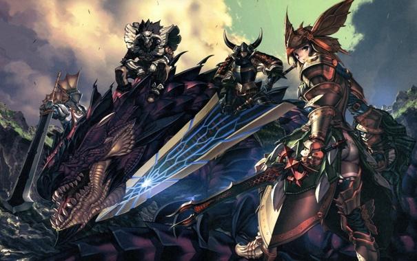 Фото обои обои, драконы, аниме, мечи
