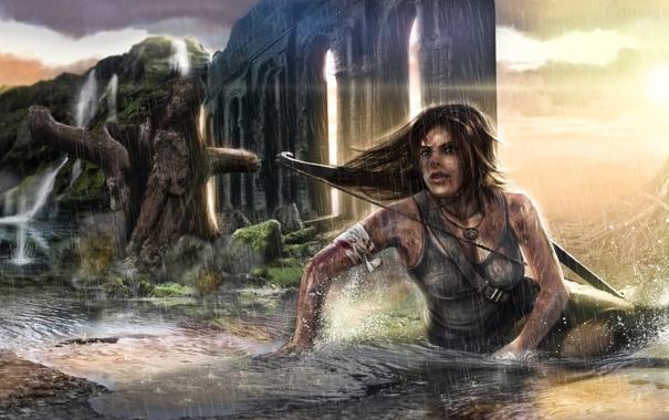 Фото обои девушка, дождь, Tomb Raider, крофт, лара