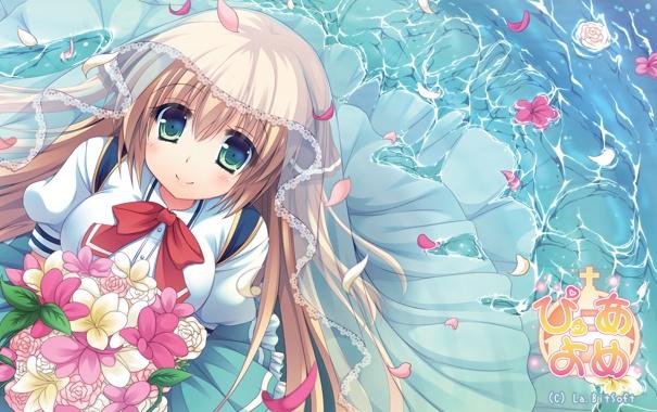 Фото обои вода, девушка, цветы, букет, аниме, лепестки, арт