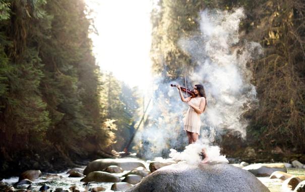 Фото обои девушка, музыка, скрипка, дым