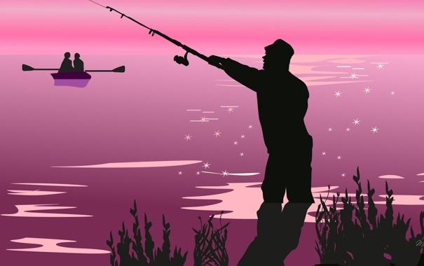 Фото обои природа, лодка, вектор, рыбак, силуэт, пара, удочка