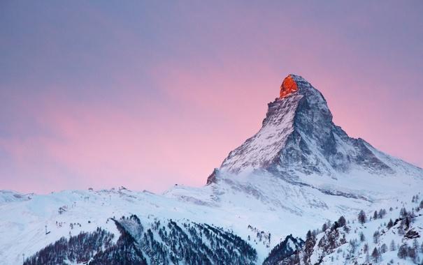 Фото обои закат, снег, небо, Альпы, гора
