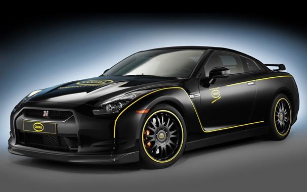 Фото обои Nissan, GT-R, black, передняя часть, Cobra Technology