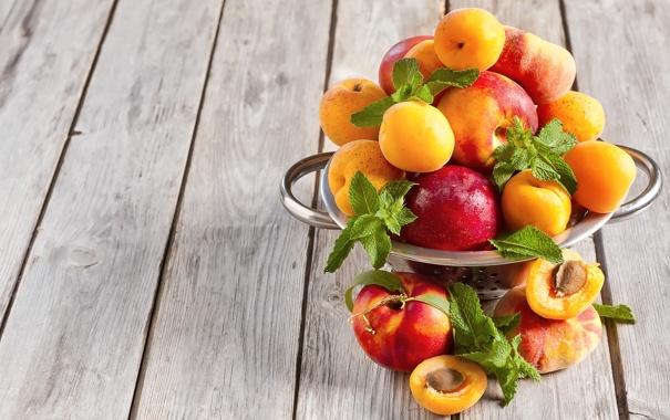 Фото обои персики, нектарины, peaches, листья мяты, mint leaves, Apricots, nectarines