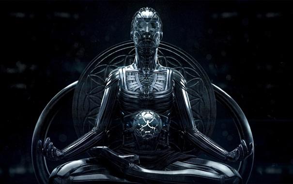 Фото обои поза, фантастика, робот, сфера, art, sci-fi