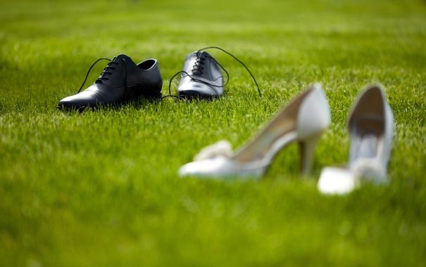 Фото обои трава, ботинки, туфли