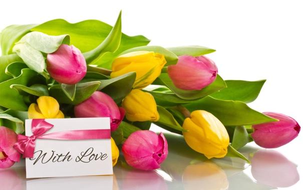 Фото обои любовь, букет, тюльпаны, бант, flowers, romantic, tulips