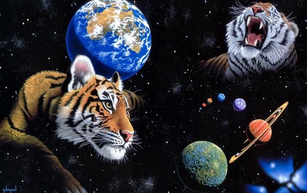 Фото обои космос, планета, арт, Земля, тигры, William Schimmel