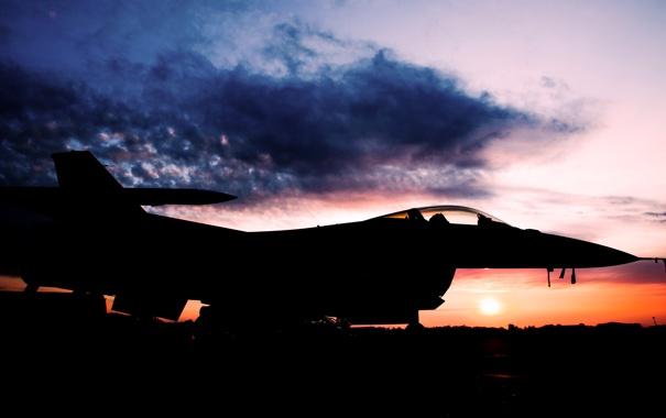 Фото обои Закат, Солнце, Небо, Облака, Самолет, Истребитель, Авиация
