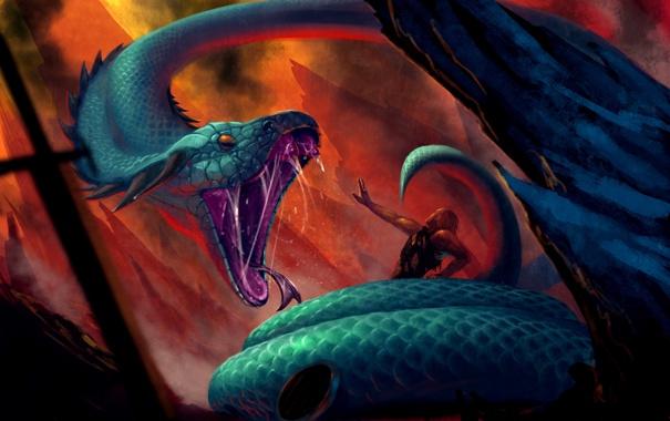 Фото обои человек, монстр, зубы, Змея, арт, хвост, ловушка