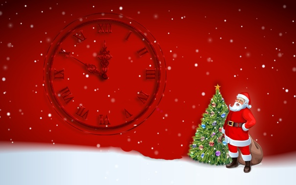 Фото обои снег, елка, новый год, куранты, санта клаус